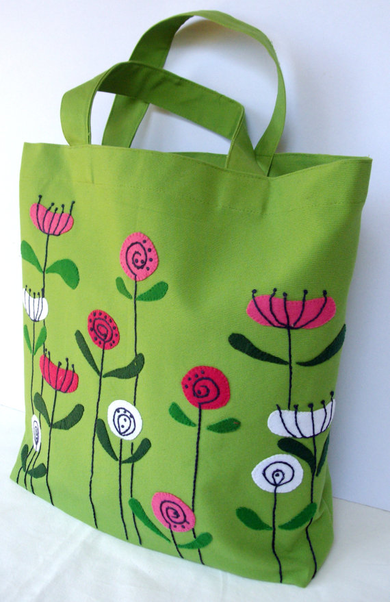 green bag with flowers